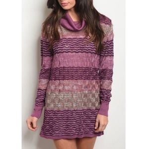 Sweaters - [New] COWL NECK PURPLE MULTI SWEATER